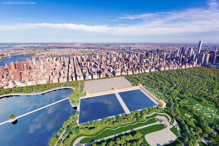 這是紐約中央公園若根據1858年被拒絕的設計案建造的樣子